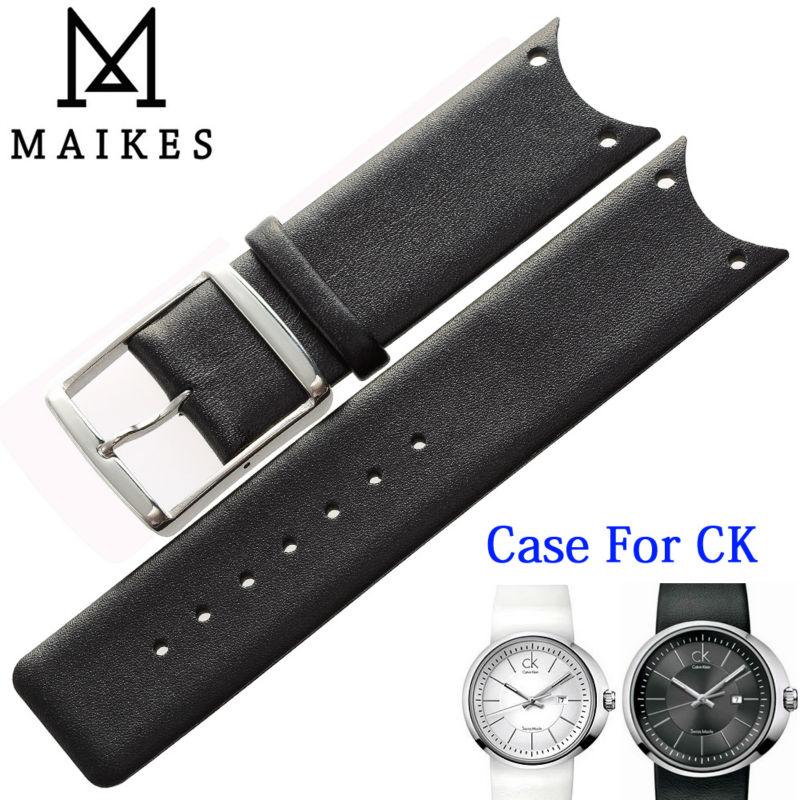 MAIKES, alta calidad, correa de reloj de cuero genuino, negro, blanco, funda...