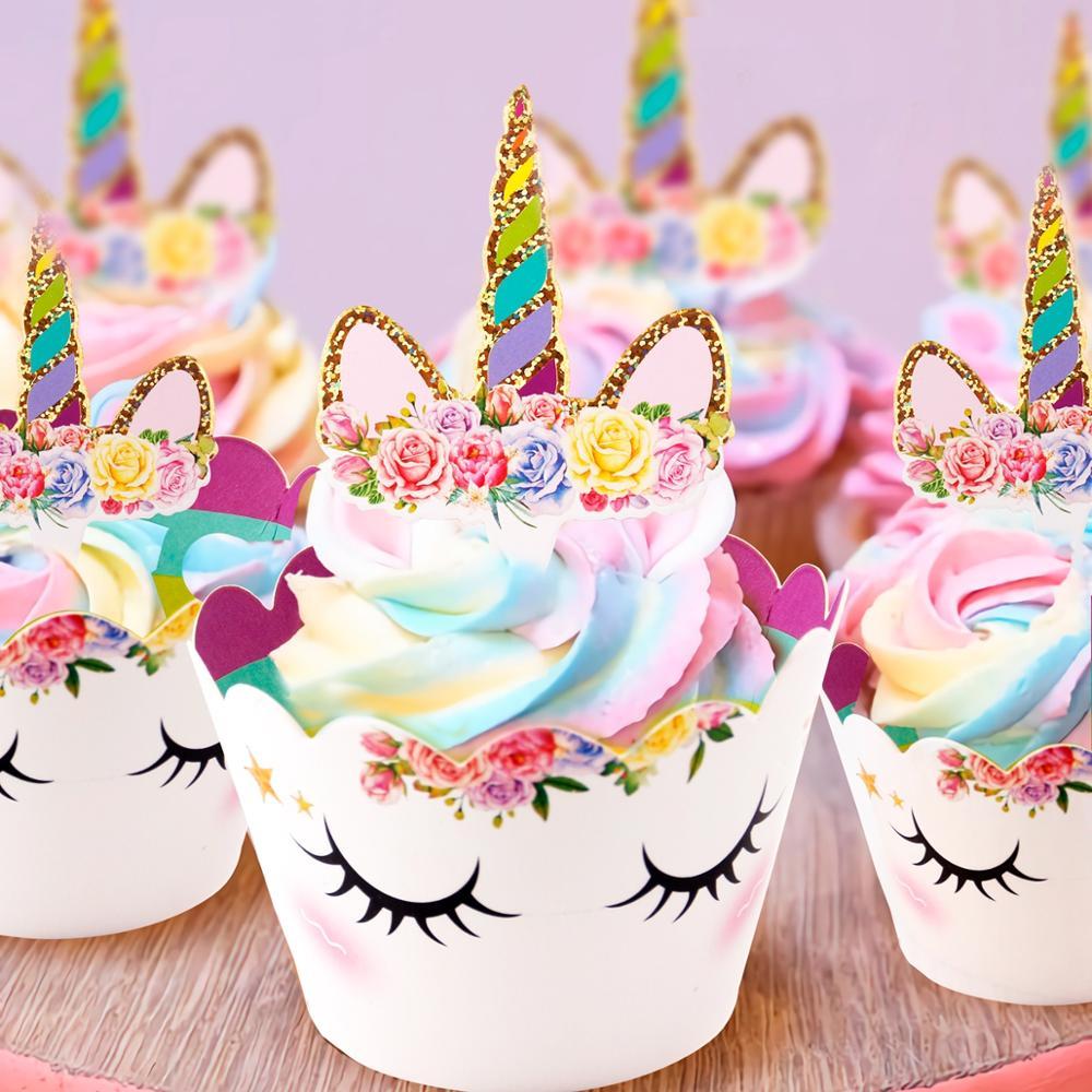 Радуга Единорог обертки для кексов торт Топпер Единорог День Рождения украшения для торта для вечеринки детский душ Единорог вечерние принадлежности