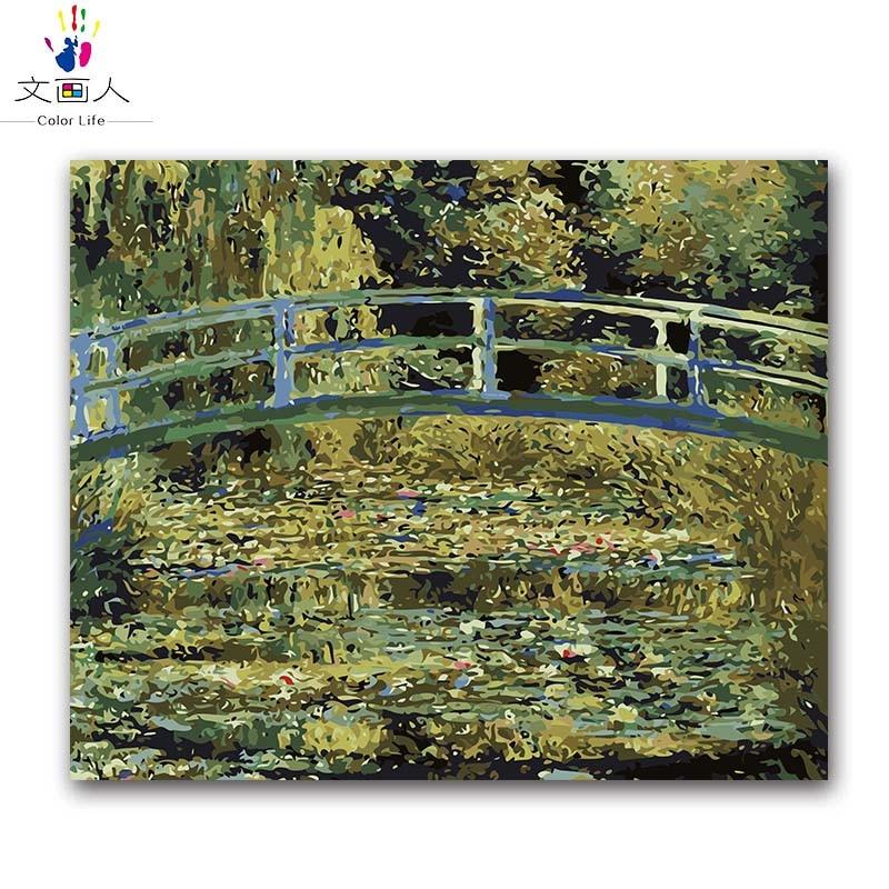 Японский мостовой Monet Водяные лилии картина по номерам пейзаж холст Рисование Раскраска по номерам с комплектами посылка