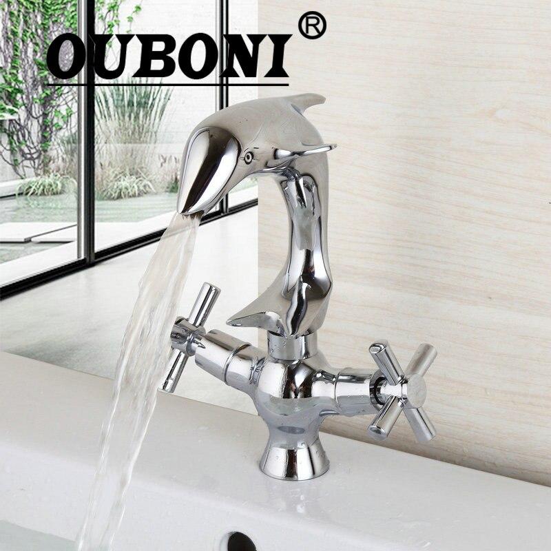 OUBONI полированный хром Torneira две ручки на бортике Delfin ванная комната широко распространенный кран ванная раковина смеситель краны
