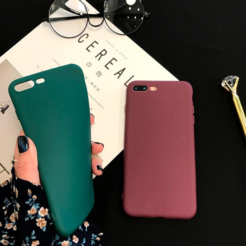 Funda de silicona blanda X 8 para iPhone 7 Plus 5 5s SE, carcasa para iPhone 6 6s 7, carcasa de TPU mate de Color caramelo, funda trasera para mujer