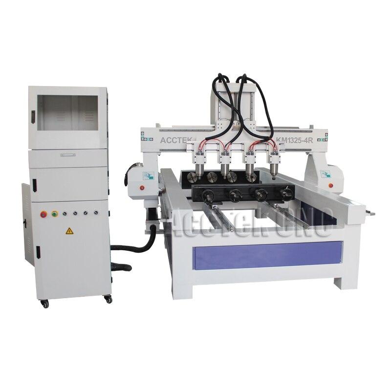 Acctek inteligente máquina de gravura do cnc 1325 com 4 eixo rotativo