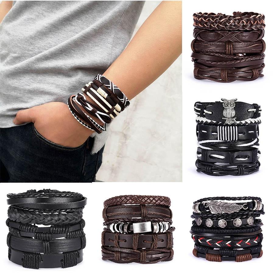 Hommes Bracelets Vintage multicouche en cuir tresse Bracelets Bracelets étoile feuille hibou fait main corde Bracelets denveloppement mâle cadeau bijoux