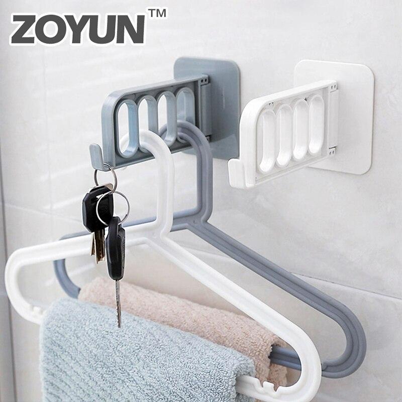 Percha de plástico con cuatro agujeros para el dormitorio, percha para la puerta o el armario, perchero para el almacenamiento de ropa y abrigos, organizador plegable para llaves