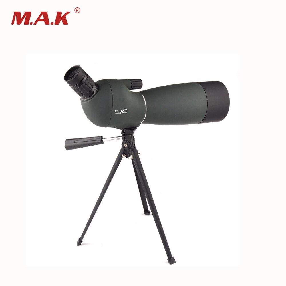 Ejército verde 25-75X70 HD telescopio Monocular BAK4 prisma objetivo Spotting Scope con trípode gratis para avistaje de aves al aire libre