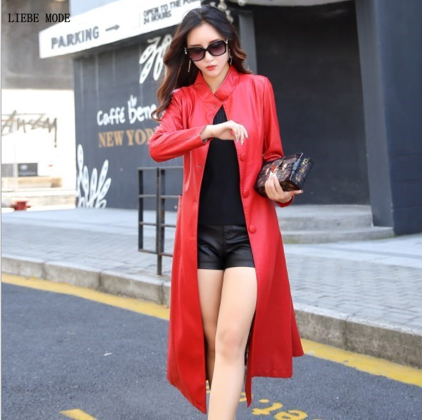 Plus Size Faux Leather Long Trench Coat for Women Fashion Spring Autumn Calf Length Slim Pu Overcoat Oversize Trench Mujer 5XL enlarge