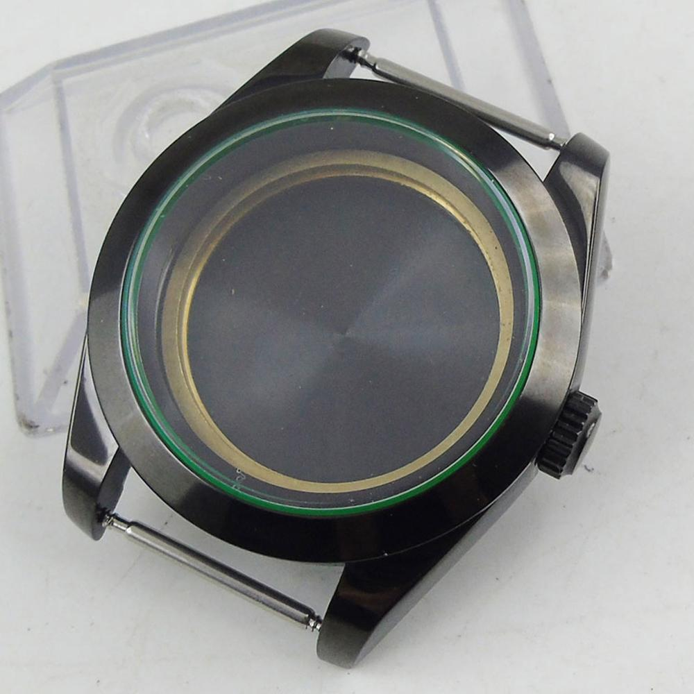 Caja para reloj automático de cristal de zafiro pulido de 39mm recubierto de PVD apto para movimiento automático MIYOTA 8215