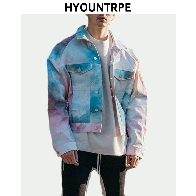 Мужская джинсовая куртка, повседневная, с отложным воротником, в стиле хип-хоп