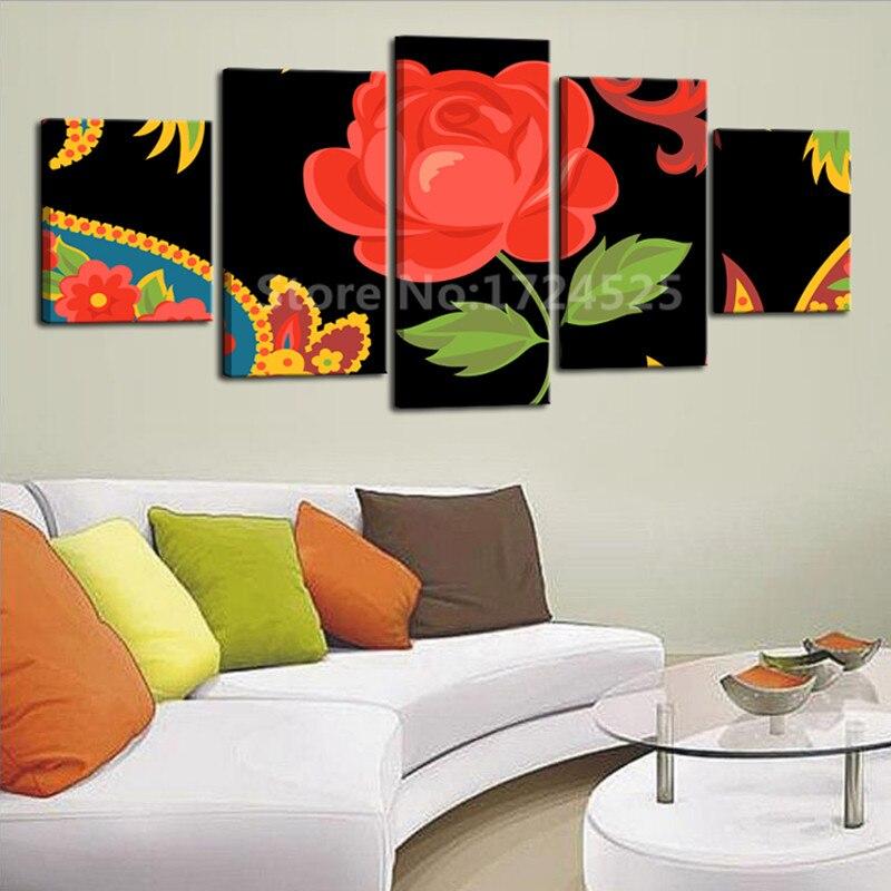 Pintura de arte impreso lienzo de alta definición, flor roja grande para sala de estar, pintura en aerosol de decoración, Impresión de 5 piezas sin marco
