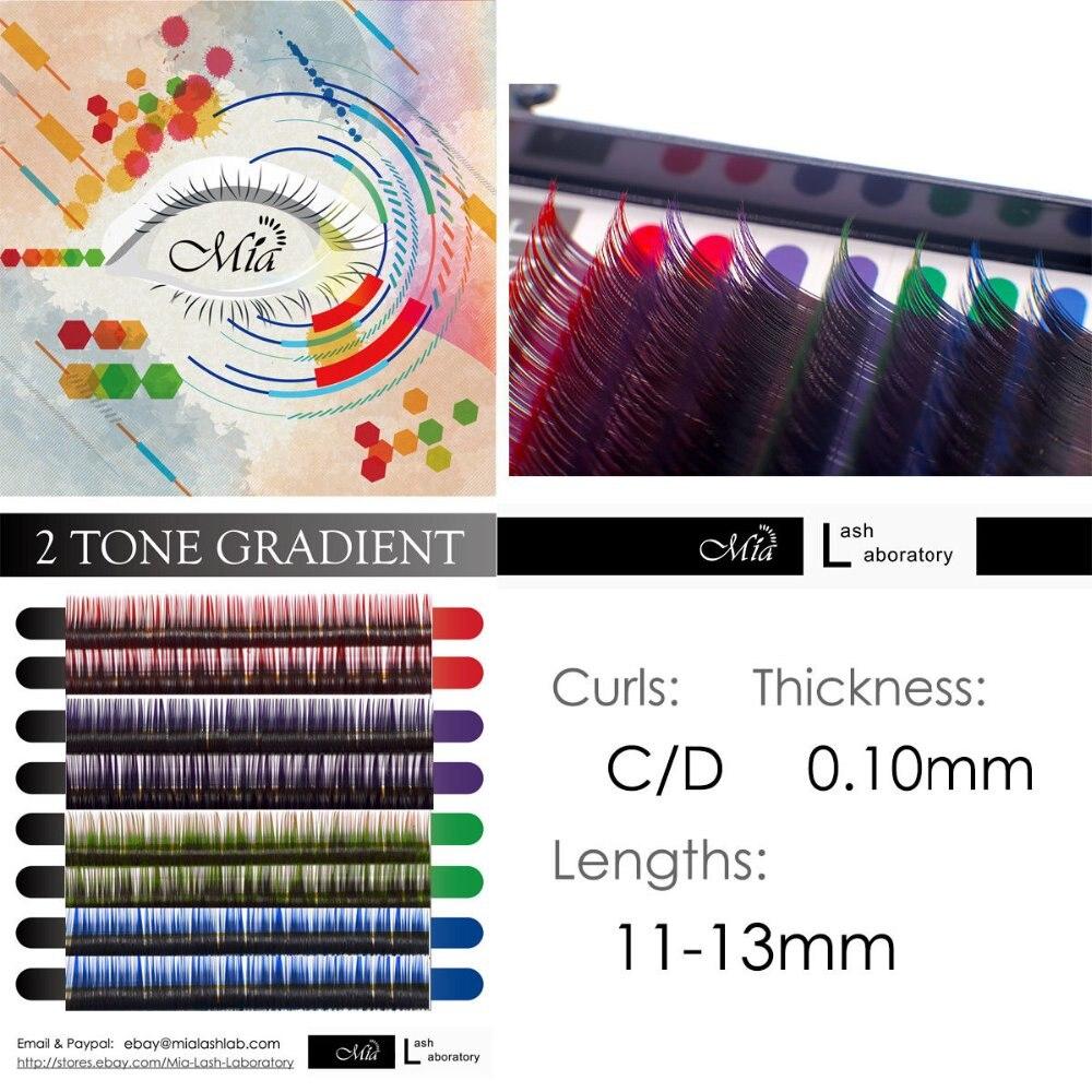 [0,10 C/D] Mia extensiones de pestañas individuales gradiente de dos tonos Semi permanente negro + Color
