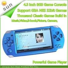 Livraison gratuite Console de jeu portable 4.3 pouces écran mp4 lecteur MP5 lecteur de jeu réel 8 go support pour psp jeu, appareil photo, vidéo, e-book