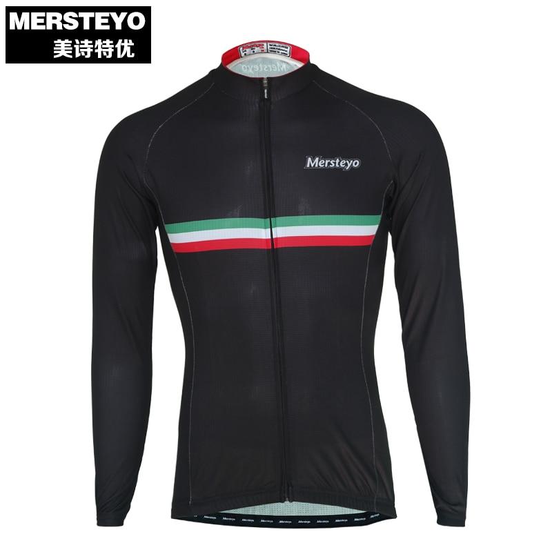 MERSTEYO Pro Men MTB Cycling Jersey Bike Long Sleeve Jersey Black Male Sports Bicycle Clothing Team Top