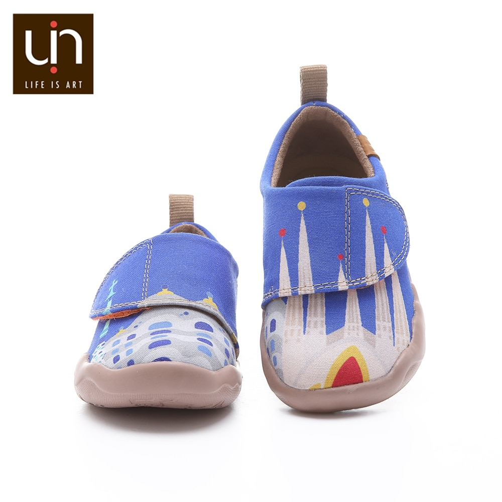 UIN City of Gaudi Design Painted Little Kids Casual Shoes Hook & Loop Soft Canvas Flats for Boys/Girls Outdoor Children Shoes enlarge