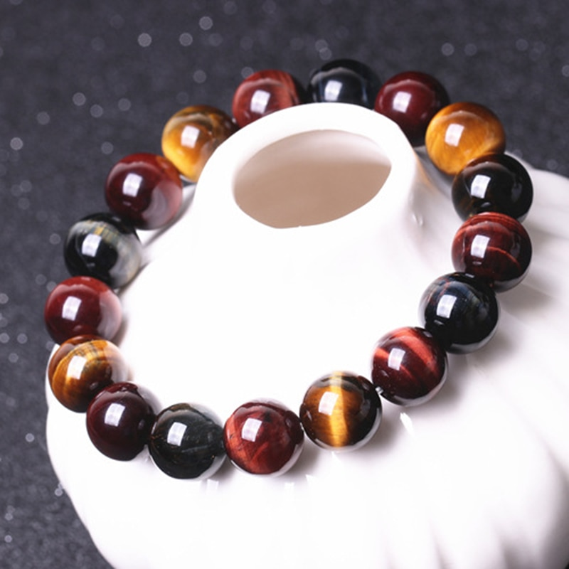 Fine JoursNeige Natural Color Tiger Eye Stone Bracelets 8-10mm Round Beads Crystal Bracelet for Men Women Lucky Bracelet Jewelry
