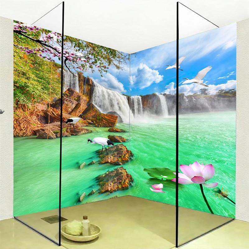 Papel pintado De paisaje para pared con cascadas HD, adhesivo autoadhesivo impermeable para baño De PVC, adhesivo De fondo De pared, Papel tapiz, Papel De pared