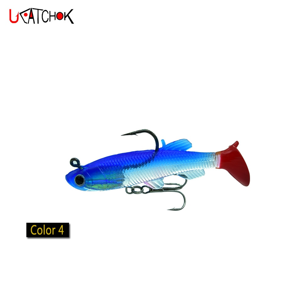 5pcs/box Soft Lead Fish 8cm/12.5g T-Shape Tail Fishing Bait lures with 2 Hooks Fly Fishing Pesca Cheap Soft Lure enlarge