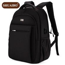 Shuaibo Men's Backpack 15 Inch Notebook Computer Bags Student School Bag Oxford  Fashion Business Men Travel Bag D137