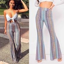 Print Boho Flare Pants Women Fashion Elastic Loose Long Pant Tribal African Print Wide Leg Trousers Bell Bottom Leggings Pants