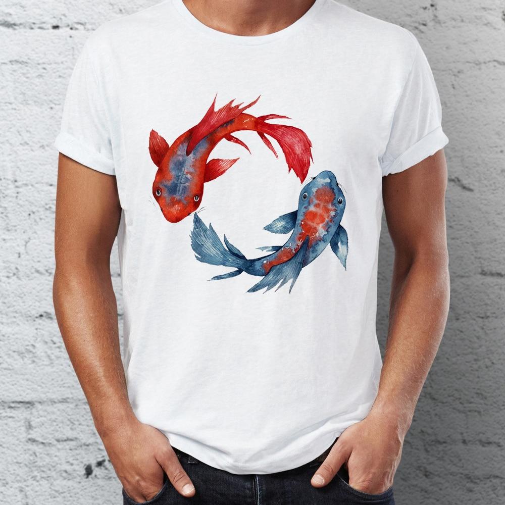 Camiseta masculina yin yang koi peixe incrível artsy t