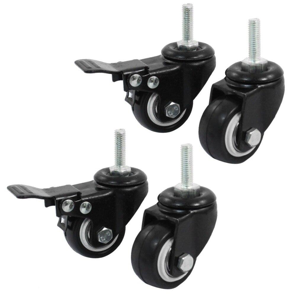 4 teile/los 8mm/M8 Gewinde 40mm/1,5 zoll Rad 360 Drehbare Shopping Trolley Bremse Doppel Ball lager Swivel Caster Rad für DIY