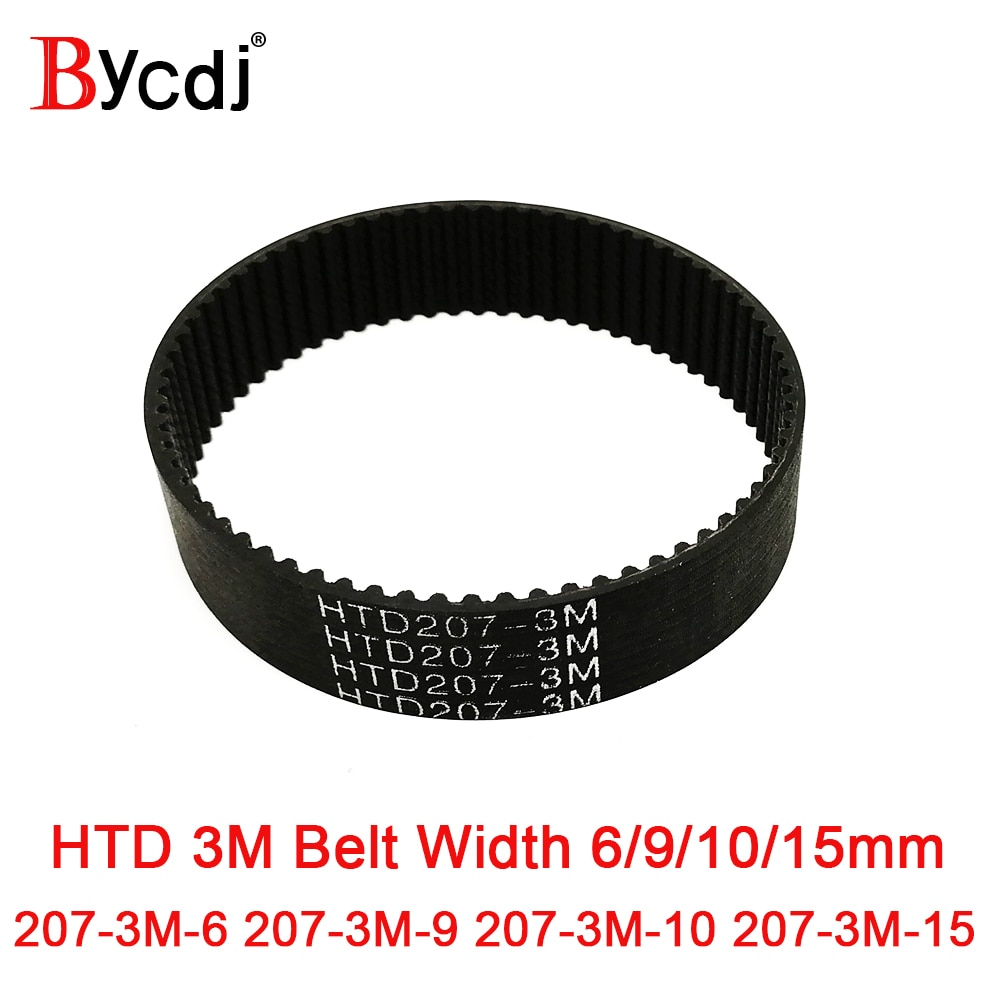 htd 3m timing belt width rubbe toothed belt closed loop synchronous belt pitch 5mm HTD 207 3M Timing belt Pitch length 207mm width 6mm 9mm 10mm 15mm Teeth 69 Rubber HTD3M synchronous belt 207-3M in closed-loop