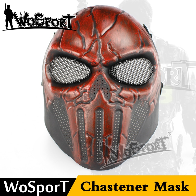WoSporT Airsoft Paintball acero cráneo FullFace máscara Chastener oído protección fiesta de Halloween de campo de juego Cosplay película CS Prop