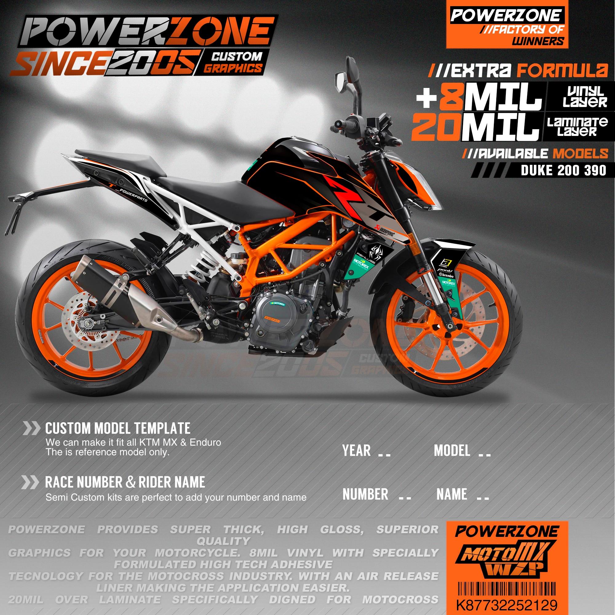 PowerZone-ملصقات فريق مخصصة ، مجموعة ملصقات 3 متر لـ KTM DUKE 200 390 2011-2016 2017-2019 129