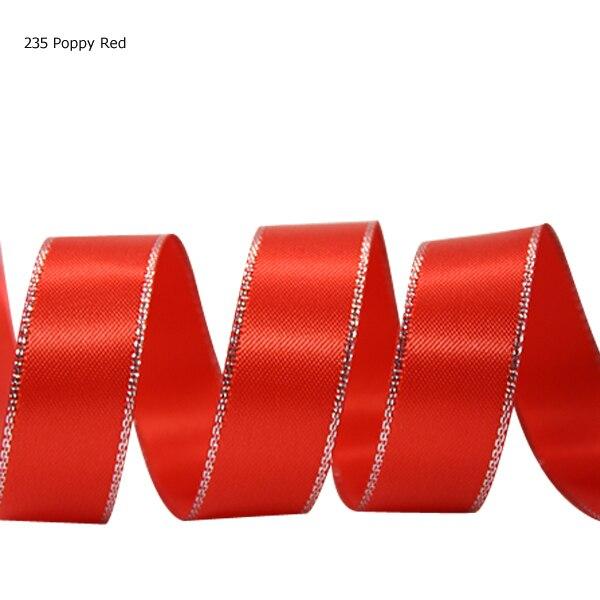 7/8 pulgadas (22mm) cinta de satén de doble cara con borde plateado de color sólido