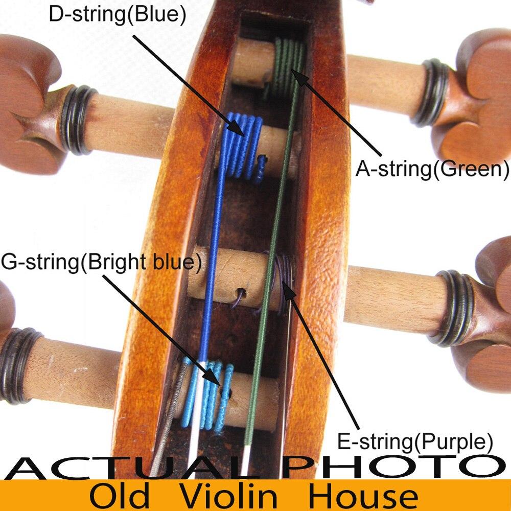 Cuerdas de violín OVH Workshop Perlon 4/4, calibre medio, conjunto completo (G, D, A, E), extremo de bola, gran venta