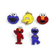 10 pcs/lot Anime Sesame Street Brooch Toy ELMO BIG BIRD COOKIE MONSTER cartoon metal Badge pin Doll for Gifts