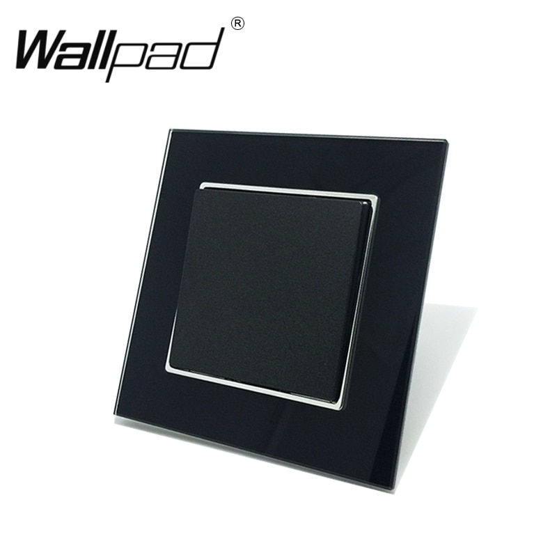 1 1 Gang Way Switch Botão Wallpad 110-250V AC Schuko UE Europeu De Vidro Preto 1 Empurrão Quadrilha interruptor de luz com Garras Clipe Monte