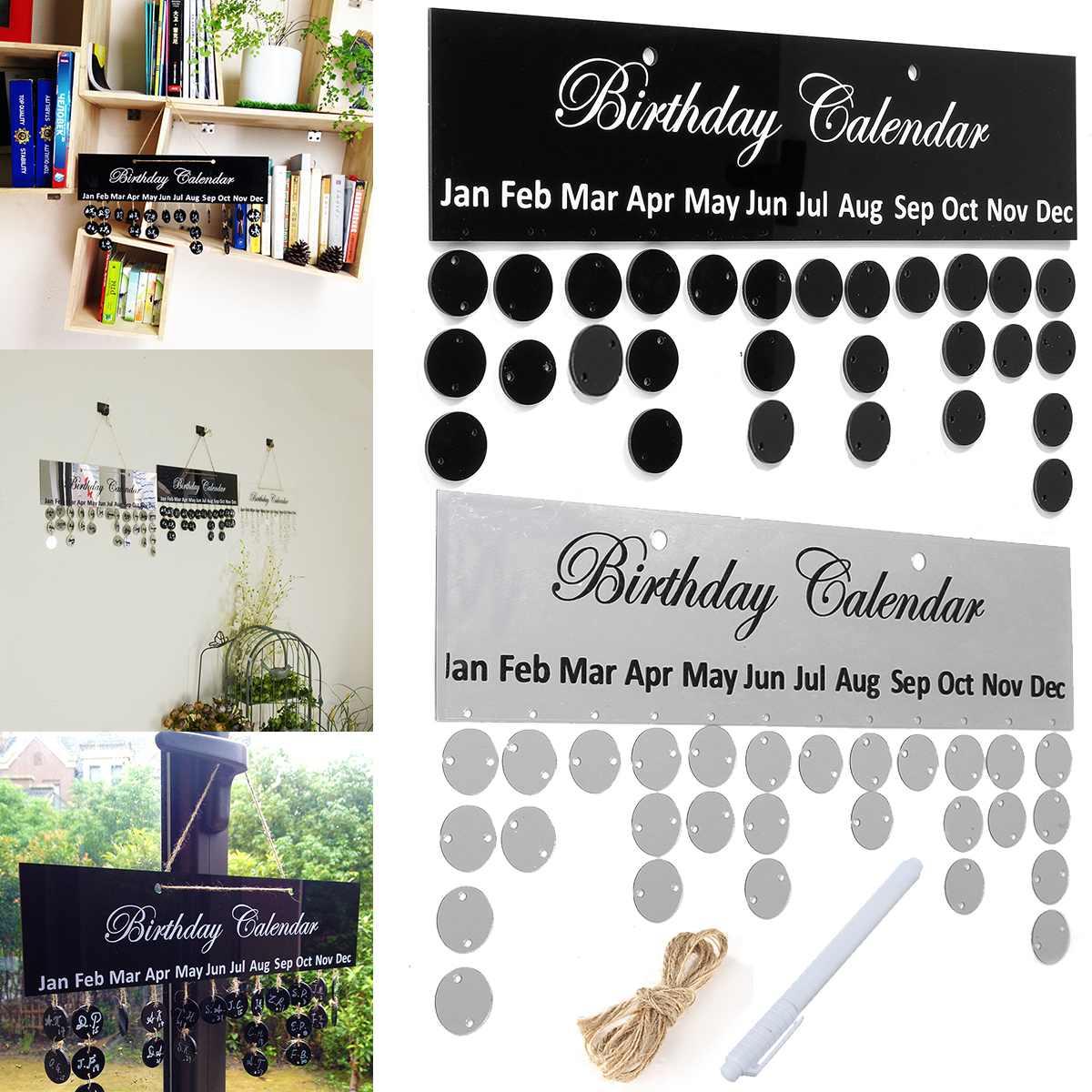 Tablero de calendario de cumpleaños Kicute, plateado y negro, 1 unidad, DIY, familia, cumpleaños, calendario, señal, fechas especiales, planificador, tablero, decoración colgante, regalo