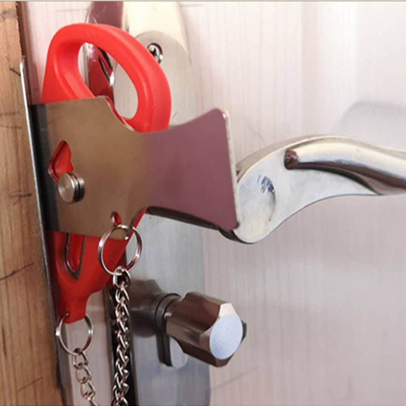 Trava de porta de ferro inoxidável, batente de porta portátil para hotel com 1 peça, suprimentos para viagem