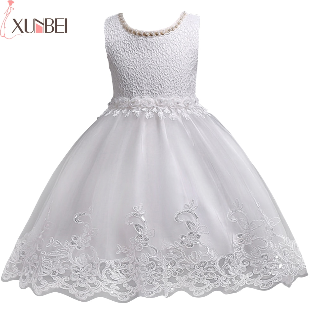 Lovely Lace Appliques Beaded Pearls Flower Girl Dresses Kids Evening Gowns Wedding First Communion Clothing vestido 1-10Years