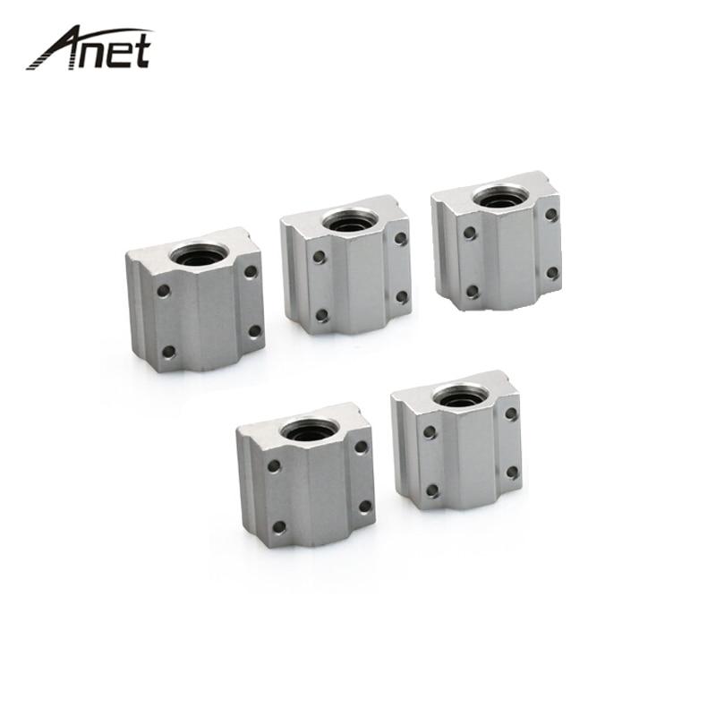 Anet 5 pc/lote 8mm Bloco de Slides Linear SC8UU SCS8UU Linear Motion Bucha do Rolamento de Esferas Do Eixo para DIY Impressora 3D Peças do CNC