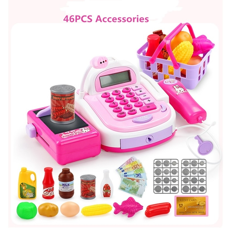 Pretend Play Cash Register Toys for Kids Multi-functional Supermarket Cash Register Cashier Toy Calculator Microphone Scanner connect the pos machine before the use of cash used in supermarket restaurant cashier ek330
