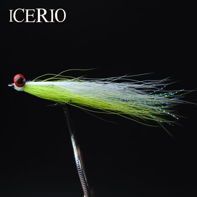 ICERIO 10 PCS #4 Saltwater Fly Fishing Flies (Truta, Bonefish, Redfish) Clouser Minnow Profundo de Pesca iscas Chartreuse/Branco