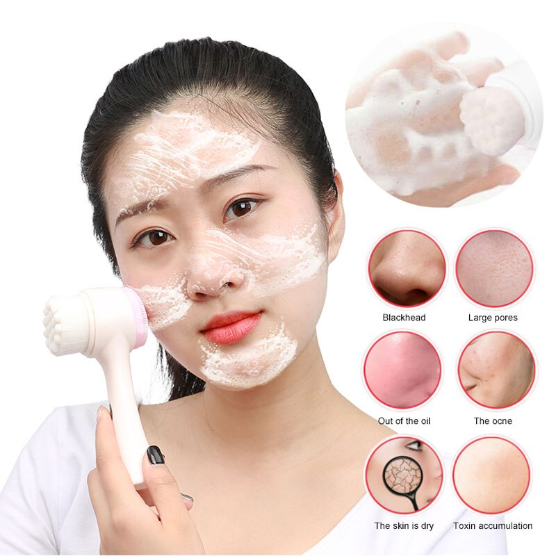 Cofoe doble cara de silicona Facial limpiador cepillo portátil de limpieza profunda Facial cepillo de lavado Manual para masaje Facial herramienta de cuidado de la piel