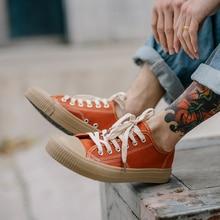 Wiosna męskie tenisówki wulkanizowane buty w stylu casual męskie pomarańczowe trampki jednolity kolor zasznurować deskorolka buty 39-43 cały mecz moda