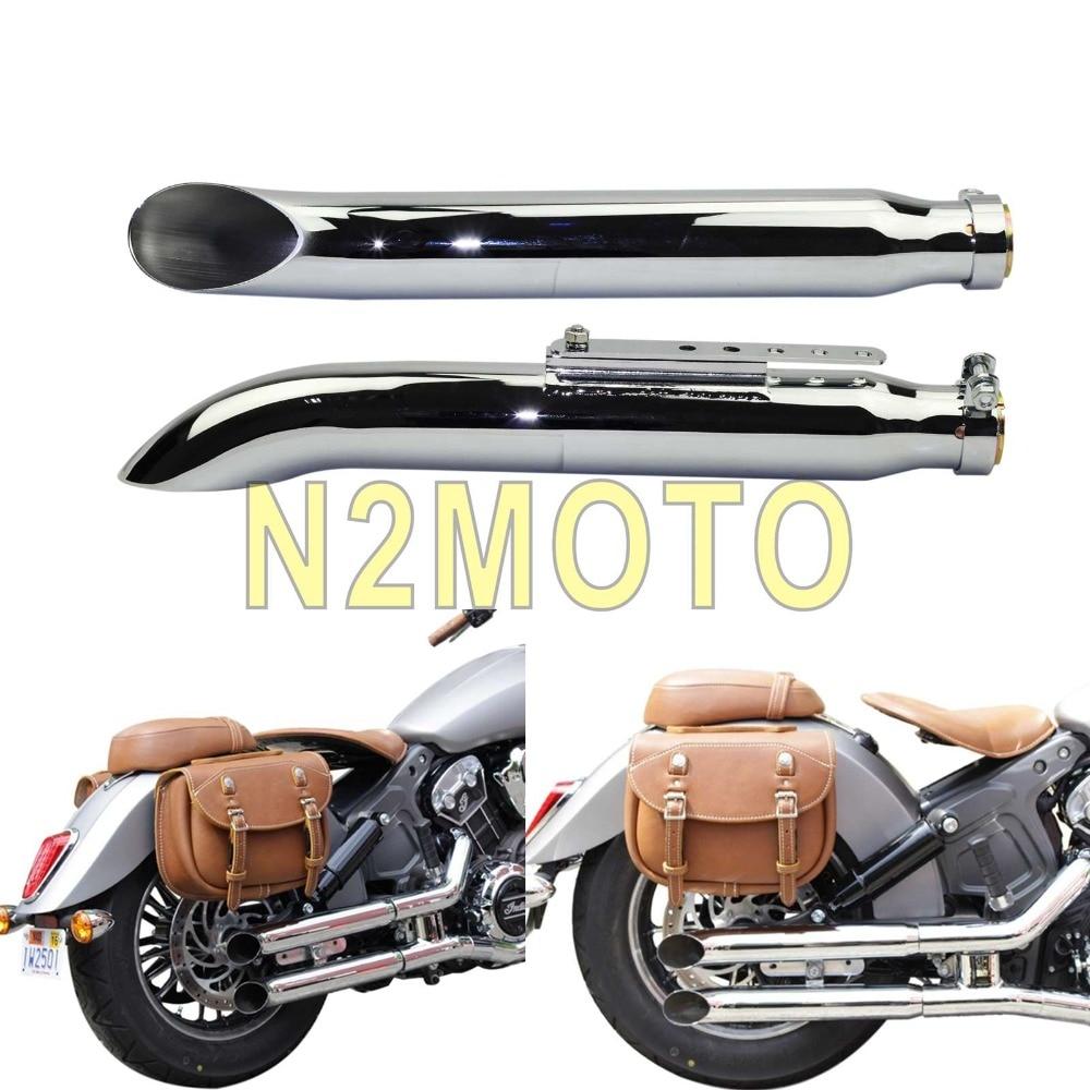 "Cromo, 1 par motocicletas biselado silenciador de tubo de escape 1-3/8 ""1-1/2"" 1-5/8 ""y 1-3/4"" helicóptero Cafe Racer silenciador"