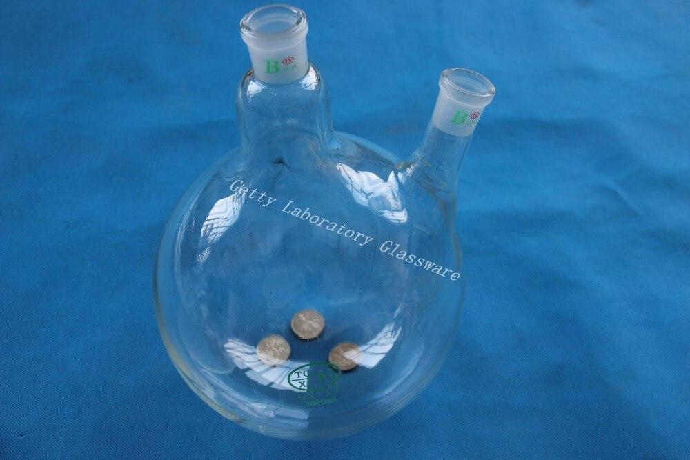 3L (3000 ML) 2-neck (dois-neck) boliing balão de fundo Redondo, 24/29, parede pesada (vidro Borosilicato 3.3)
