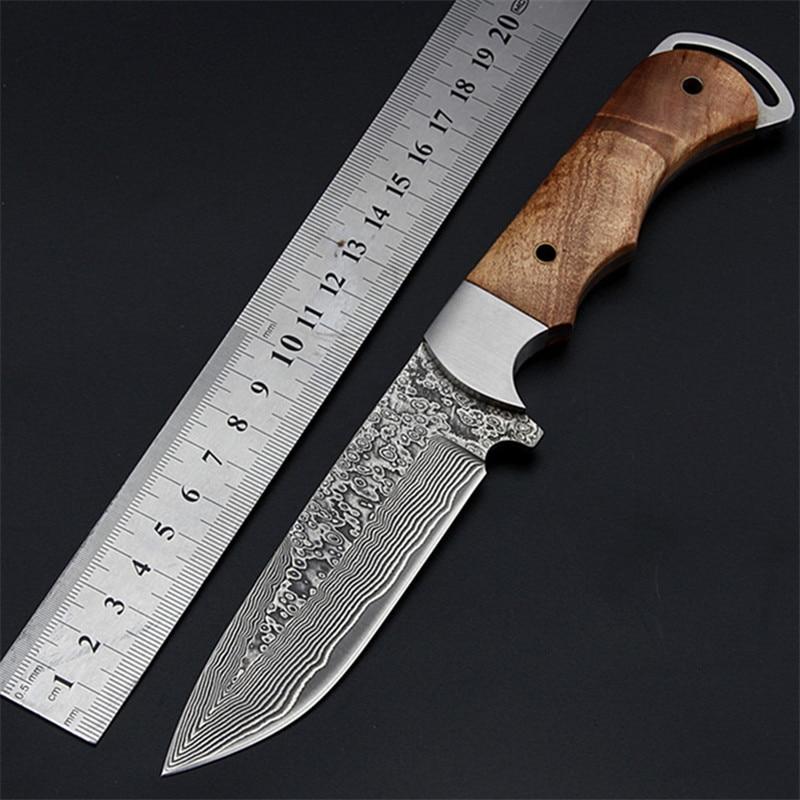2020 nueva gran oferta de cuchillo táctico fijo de combate al aire libre del ejército de Damasco cuchillo de supervivencia de alta dureza de Camping cuchillos rectos EDC herramientas