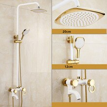 Dofaso luxury white chrome shower Polished Golden & white Shower set Wall Mount Bathroom Rainfall Shower Faucets dso505