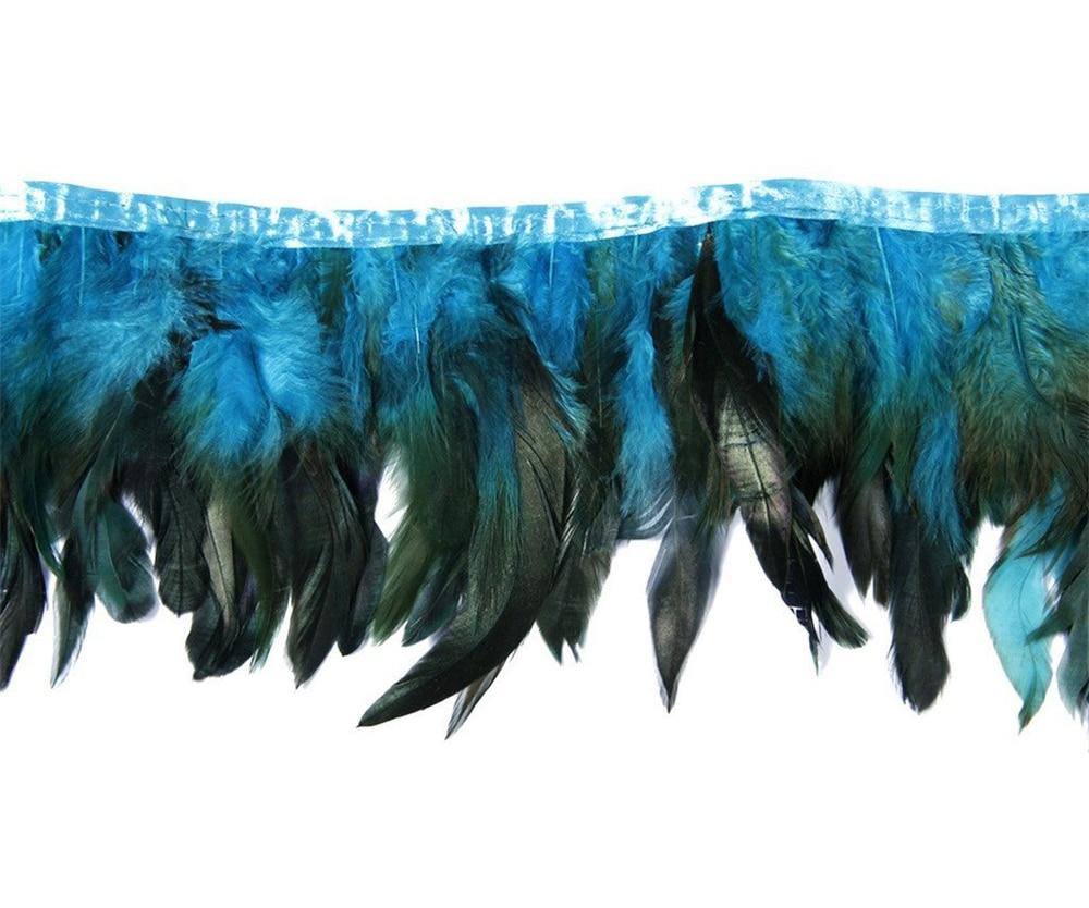 Голубое озеро Коктейльные перья бахрома планки ленты натуральный петух перо для поделок с атласной лентой ленты юбка костюм шлейф