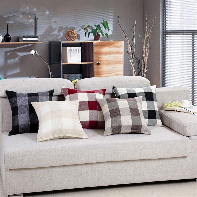 1 Uds. Protección de algodón de lino de color puro grueso a la moda 45X45cm para sofá decoración de algodón para Oficina Decoración de sofá y coche
