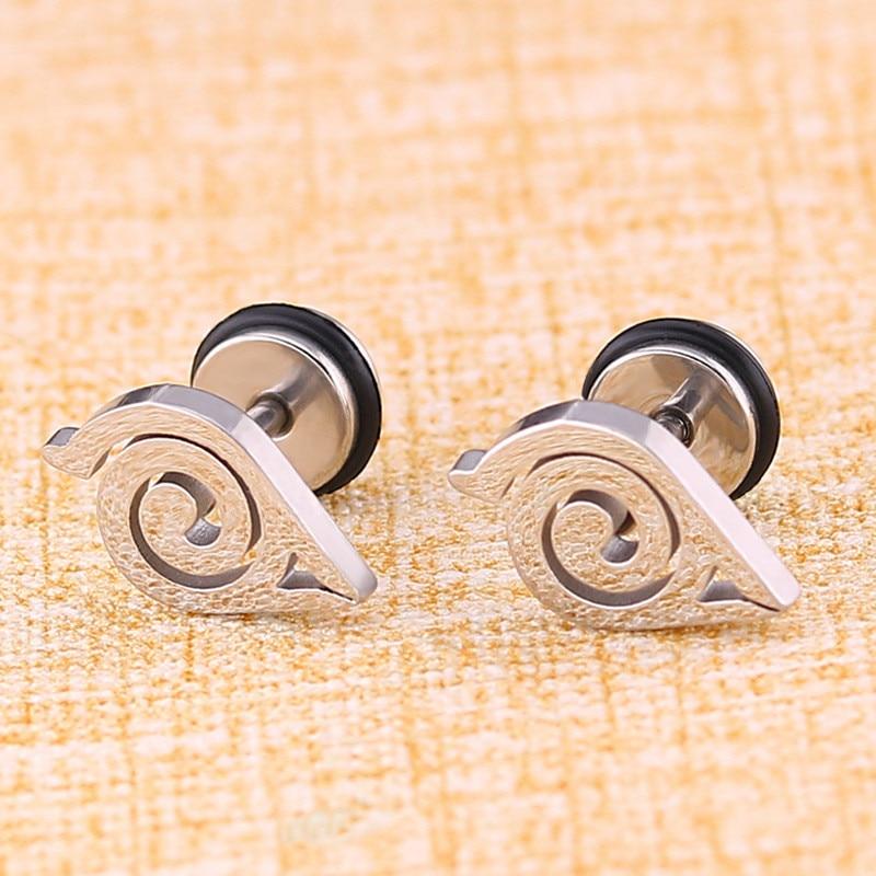 Aukštos kokybės nerūdijančio plieno auskarai naruto anime moterims mergaitėms mados geometriniai auskarai iš gimtadienio dovanos 2 vnt