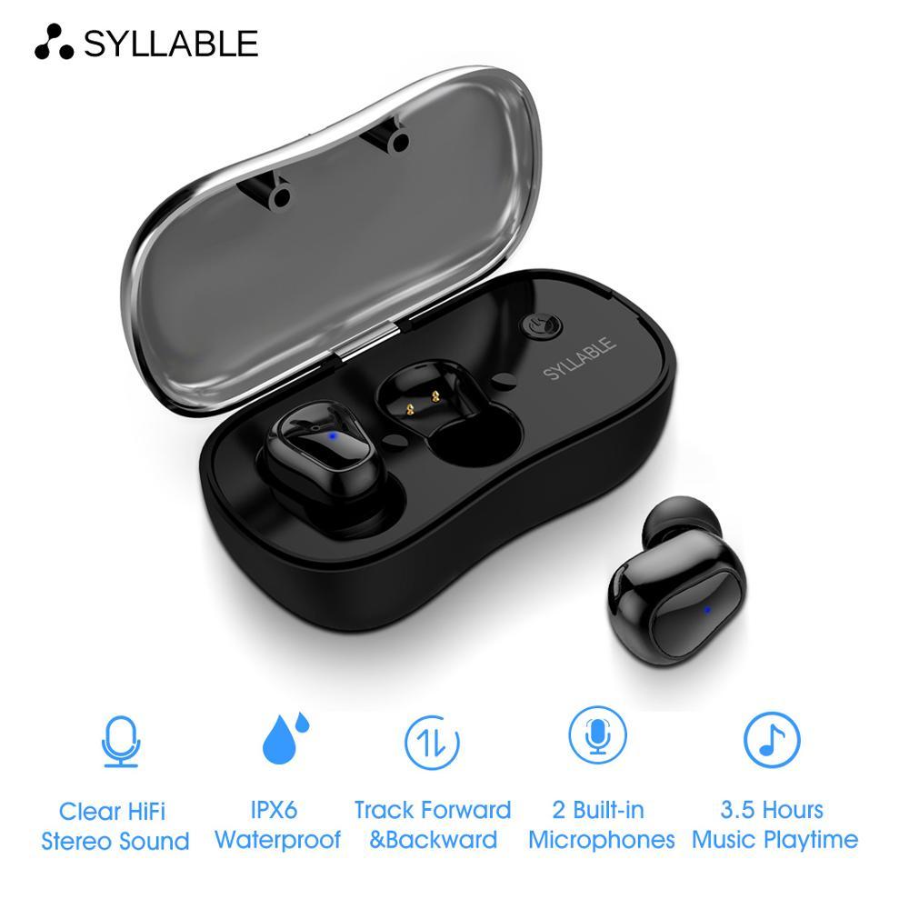 Auriculares con bluetooth V5.0 SYLLABLE D900P, auriculares con reducción de ruido para teléfonos móviles, auriculares magnéticos de deporte inalámbricos con bajos D900P