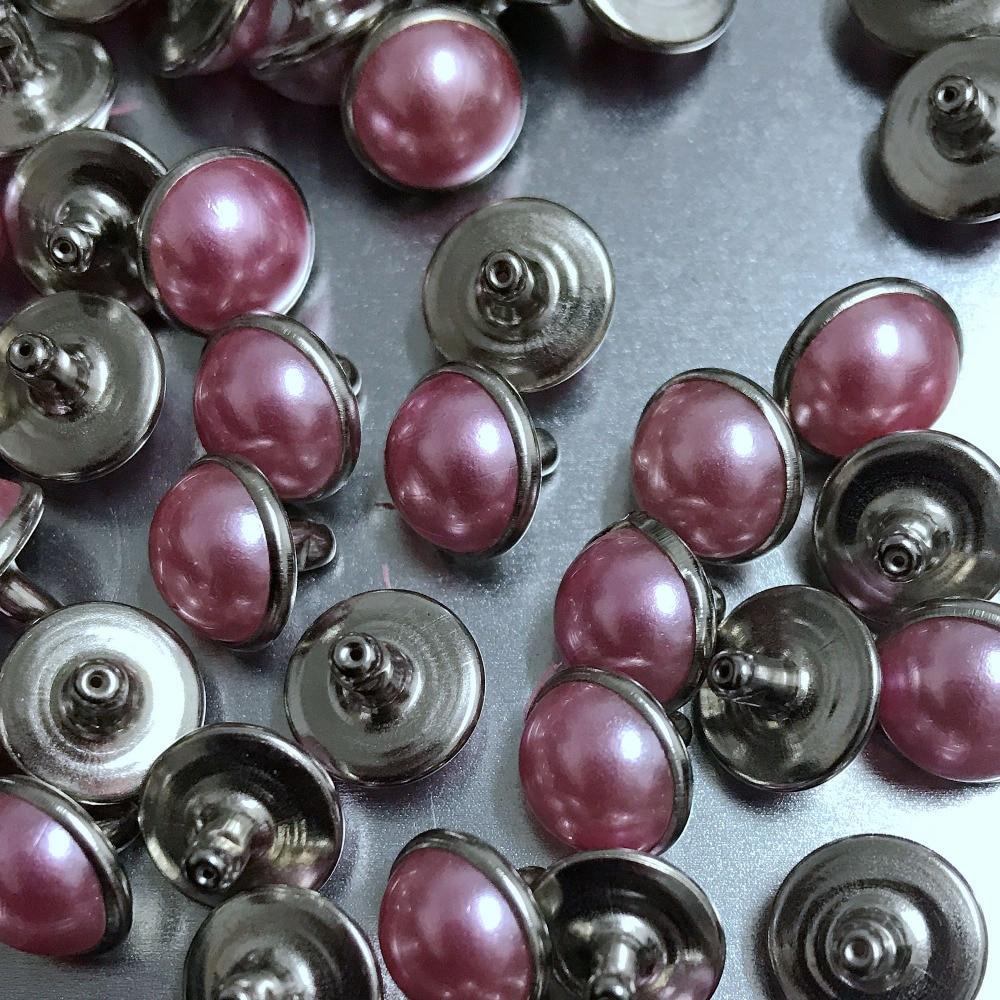 100 Uds 10MM de plata Rosa acrílico tachuelas con forma de perlas de artesanía de cuero Punk pendientes DIY hacer zapatos de correa pulsera para bolso envío gratis