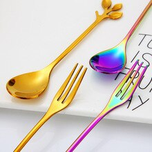 7 Uds Mini cuchara de té juego de cubiertos de acero inoxidable cuchara de postre Arco Iris única cucharas de té de oro cuchara de café pequeña cuchara