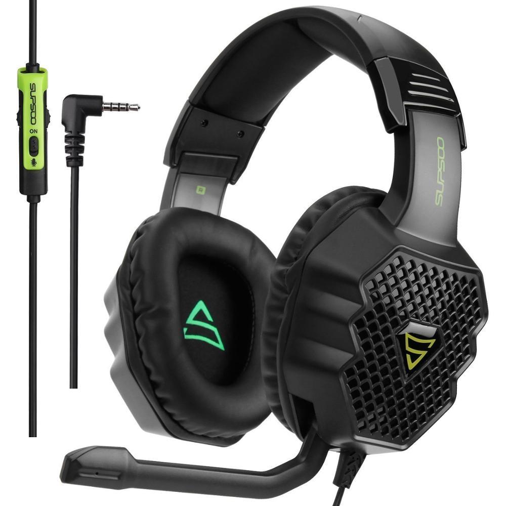 SUPSOO G811 auriculares con micrófono para juegos grandes ligero estéreo auriculares graves profundos para PC Gamer Laptop PS4 nuevo X-BOX